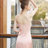歐俏姿春夏季性感吊帶睡裙冰絲女深V露背仿真絲睡衣蕾絲家居服 衣櫥の秘密