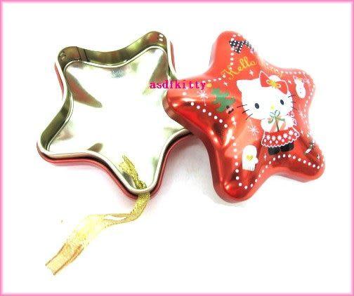 家用【asdfkitty】KITTY聖誕樹掛飾/幸運星星收納鐵盒-可放神祕小禮物或祝語紙條-日本製