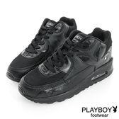 PLAYBOY 時髦革命 可愛色系氣墊休閒鞋-黑(女)