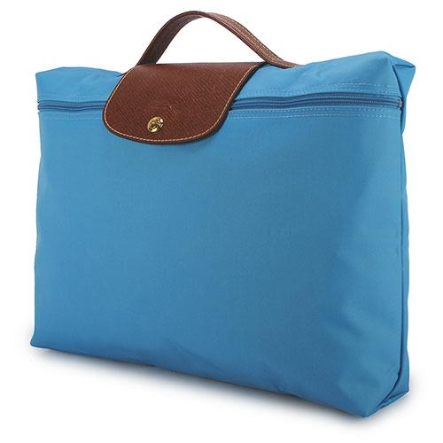 LONGCHAMP經典尼龍摺疊方形手提包(蔚藍色/送帕巾)480103-807