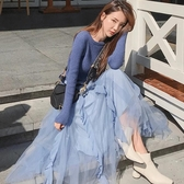 連衣裙 2019新款潮藏肉針織連衣裙子兩件套裝秋冬季初秋女裝【快速出貨】