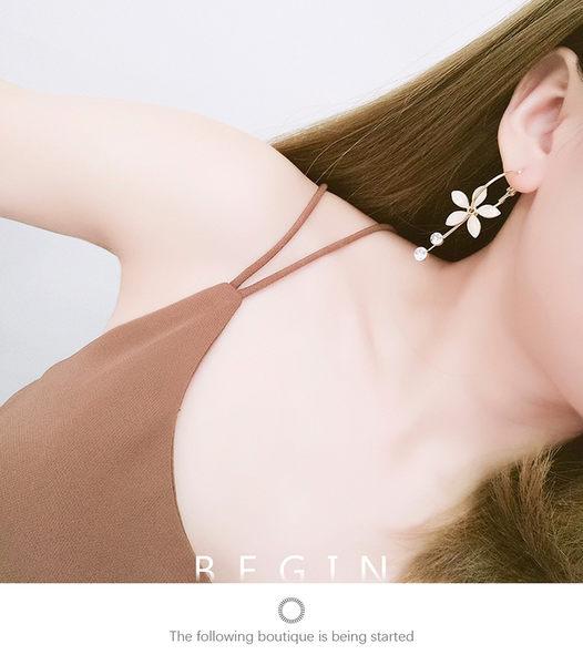耳環 花朵 吊墜 鑲鑽 誇張 氣質 圓狀 耳釦 耳環【DD1805107】 icoca  05/24
