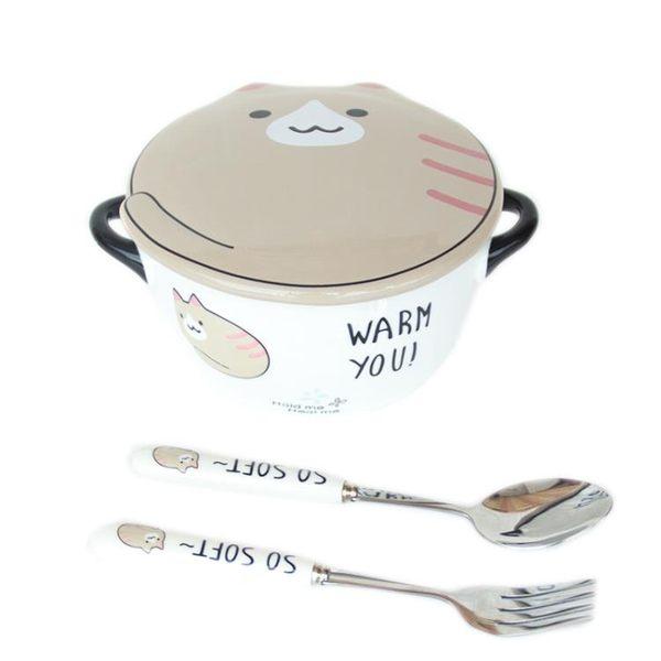 宿舍泡面碗帶蓋學生碗可愛卡通碗方便面碗微波爐碗陶瓷家用雙耳碗    多莉絲旗艦店