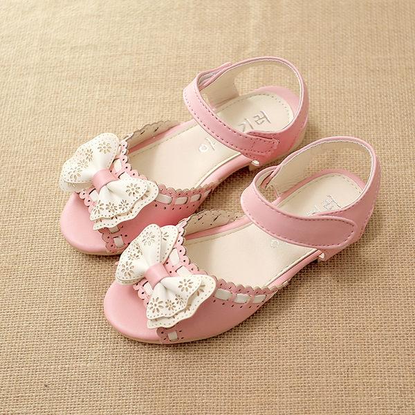 女童涼鞋公主鞋蝴蝶結鞋兒童魚嘴涼鞋