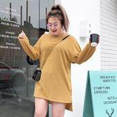 大碼女裝胖女人春裝寬松T恤中長款2019新款胖妹妹針織上衣