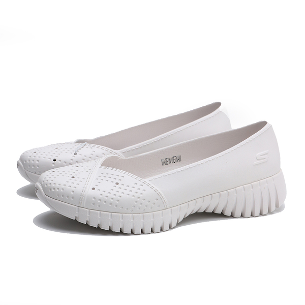 SKECHERS 健走鞋 GO WALK SMART 全白 膠鞋 橡膠 休閒鞋 女 (布魯克林) 111117WHT