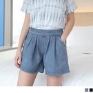 《BA1418》寬版仿牛仔打褶後鬆緊短褲--適 XL~5L OrangeBear