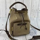BRAND楓月 PRADA 普拉達 1BH097 淺棕尼龍水桶包 LOGO印花 兩用 手提包 肩背包 側背包 斜背包