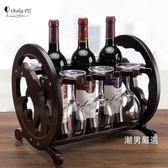 優惠兩天-酒架文藝海豚個性紅酒架家用歐式創意實木紅酒杯架倒掛客廳家居擺件xw
