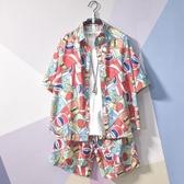 運動套裝男短褲襯衫潮流夏天寬鬆休閒兩件套夏季短袖百搭衣服日系 陽光好物