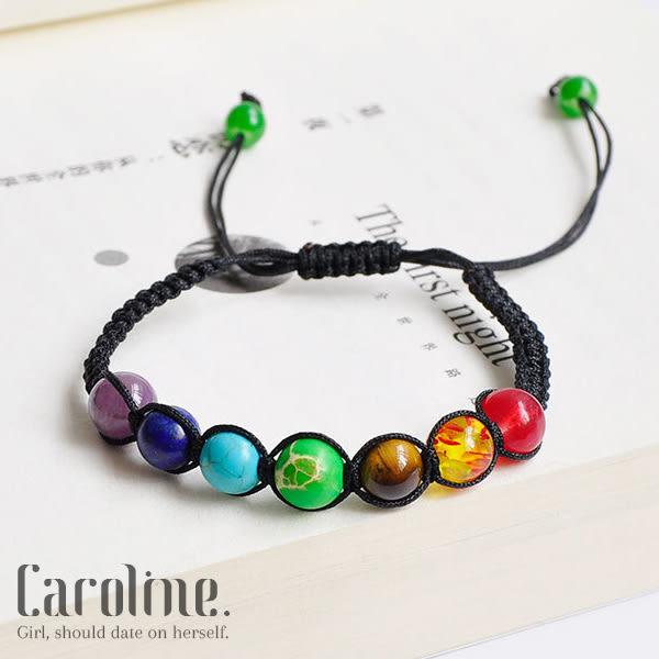 《Caroline》★典雅設計優雅時尚品味流行時尚七色彩虹手鍊69765
