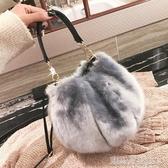 毛毛包秋冬新款毛絨水桶包韓版可愛網紅毛毛小包包百搭單肩斜挎女包 凱斯盾
