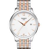 TISSOT天梭 Tradition 駿雅系列經典石英錶-銀x雙色版/42mm T0636102203701
