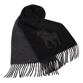 POLO RALPH LAUREN經典馬球大圖紋羊毛圍巾(黑色)780913