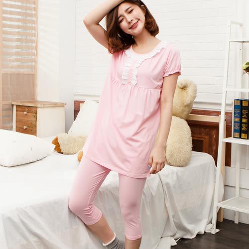 睡衣荷葉邊素蕾絲口圓領棉質成套休閒服 -粉-波曼妮亞 5002320