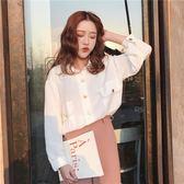 春季女裝韓版復古簡約氣質百搭寬鬆長袖純色襯衫學生打底襯衣上衣『櫻花小屋』
