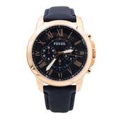 FOSSIL (FS4835) 時尚 三眼計時 男錶 手錶 玫瑰金/44mm