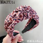 髮箍 韓國簡約百搭黑白格子線條布藝中間打結髮箍髮卡壓髮頭箍髮窟頭箍 芭蕾朵朵