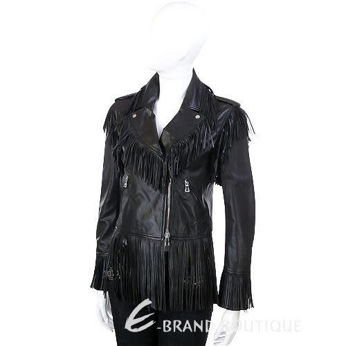 MOSCHINO 流蘇造型拉鍊皮衣(黑色) 1030434-01