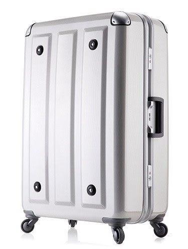 MOM JAPAN日本品牌 輕量化護角鋁框鏡面 旅行箱 -26吋-方格白
