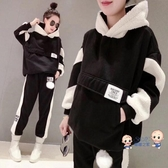 孕婦套裝 秋款套裝時尚款2020年新款秋冬季刷毛加厚羊羔毛休閒兩件套 M-2XL