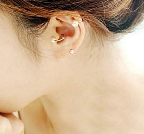 夾式耳環 現貨 韓國時尚氣質珍珠無耳洞U型耳骨耳夾(4款) S6410 單個價 批發價 Danica 韓系飾品