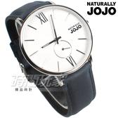 NATURALLY JOJO 文青風 木紋質感 小秒盤 真皮錶帶 防水手錶 藍色 男錶 JO96931-80M