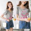 OrangeBear《AB3097》台灣製造.笑臉字母縫布繡花高含棉合身T恤.2色--適 XL~5L