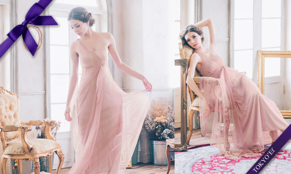 東京衣服 氣質甜美 單肩網紗水鑽別針高腰長禮服 伴娘款  粉橘