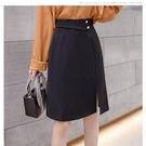 半身裙2021新款春夏高腰大碼包臀裙百搭A字裙小個子開叉女裙韓版 快速出貨