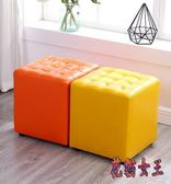 小凳 家用時尚圓凳子創意皮凳沙發凳成人軟凳矮凳小板凳實木皮墩 QX6528 【花貓女王】