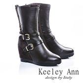 ★零碼出清★率性街頭~造型金屬飾釦內增高真皮中筒靴(咖啡色)