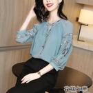 真絲上衣雪紡湖藍色大碼襯衫春夏新款設計感復古刺繡七分袖寬鬆女上衣 快速出貨