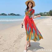 沙灘洋裝紅色印花雪紡連身裙女夏三亞海邊度假沙灘裙新款束腰顯瘦長裙 快速出貨