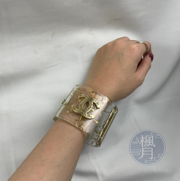BRAND楓月 CHANEL 香奈兒 透明 金箔 亮片 雙C 寬版 手環 飾品 配件