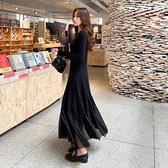 長袖洋裝 連衣裙秋冬2020新款女時尚拼接大擺長裙超彈修身顯瘦氣質打底裙子