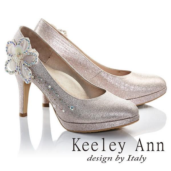 ★2016秋冬★Keeley Ann幸福女人珍珠鑽飾立體花朵新娘高跟鞋(淺粉色)