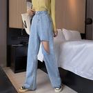 牛仔褲寬管褲小腳褲中大尺碼M-4XL11393女破洞牛仔褲新款梨形身材穿搭寬松大碼直筒褲1F051.依品國際
