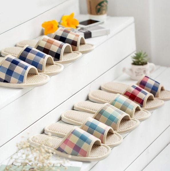 【TT】居家款亞麻格紋拖鞋 男女 室內 情侶 日式 簡約 木地板 防刮 情侶 透氣