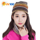 UV100 防曬 抗UV 保暖刷毛印花針織帽-多戴法