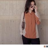 《AB13657-》條紋拼接配色長袖襯衫上衣 OB嚴選