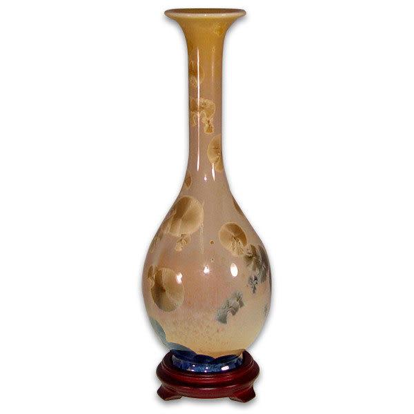 鹿港窯~居家開運結晶釉花瓶~12.5英吋長頸膽瓶 購物清單:1件