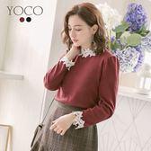 東京著衣【YOCO】輕甜女孩素面領袖蕾絲點綴上衣-S.M.L(172761)