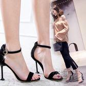 女夏季新款韓版百搭10cm高跟鞋子性感細跟網紅一字扣露趾涼鞋 衣櫥秘密