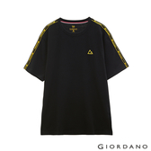 【GIORDANO】 男裝G-MOTION拼接織帶撞色短袖T恤-02 標誌黑