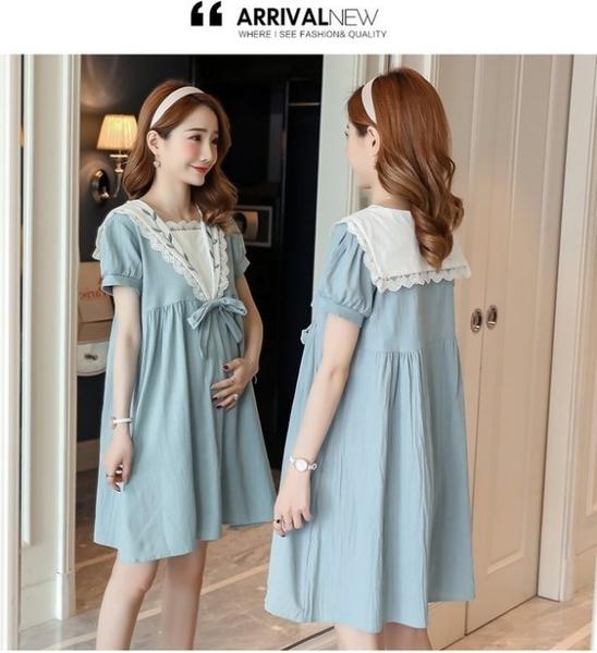 漂亮小媽咪 孕婦洋裝 【D8183】 氣質 泡泡袖 短袖 蕾絲 拼接 高腰 棉麻 刺繡 孕婦裝