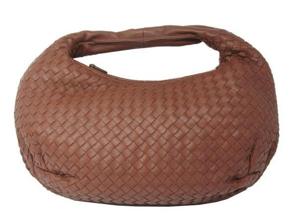 BOTTEGA VENETA 磚紅色編織羊皮單肩肩背包 和尚包 彎月包 Veneta 【BRAND OFF】