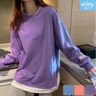 【V3256】shiny藍格子-秋意美序.假二件側字母寬鬆薄款長袖上衣