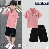巧米兔童裝男童套裝2021新款夏季兒童休閒裝中大童短袖兩件套韓版 美眉新品