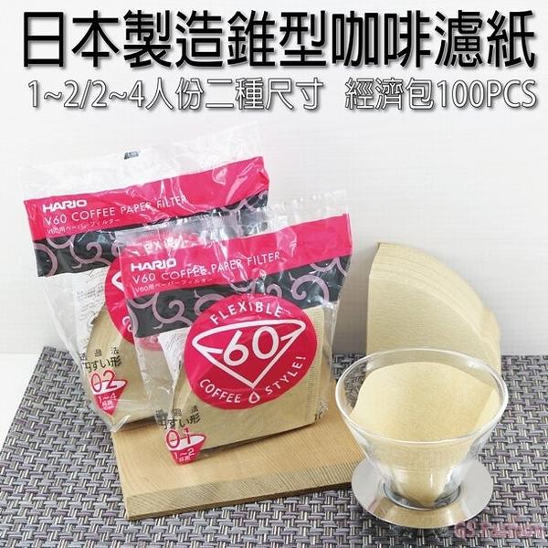 免運【珍昕】日本製造錐型咖啡濾紙(1-2/2-4人份-二種尺寸)-100枚【此商品頁銷售:2-4人份】/咖啡濾紙